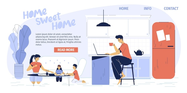 Happy family of freelancer parents working at home office apartment