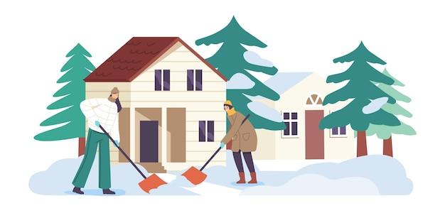 집 마당에서 삽으로 눈에서 땅을 청소하는 외부에서 일하는 행복한 가족 친구 또는 이웃 캐릭터. 겨울 시간 시즌 활동, 사람들이 야외 삽질. 만화 벡터 일러스트 레이 션
