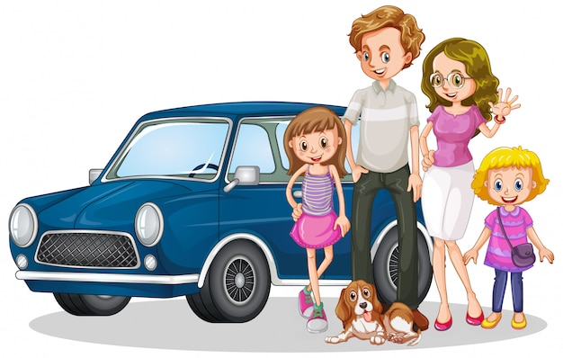 Happy family in front of car