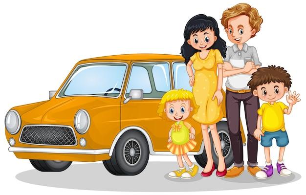 Famiglia felice davanti all'auto