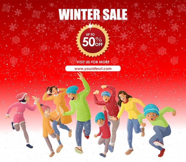 Happy family fun in winter season sale offer