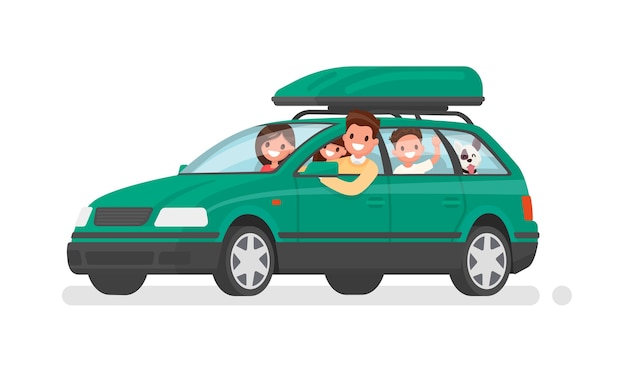 Happy family goes by car on vacation