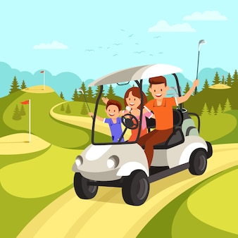 Happy family goes by golf car on golf course.