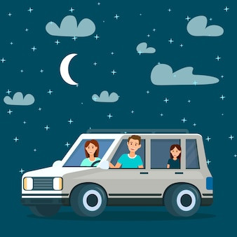 Happy family going by car at night time. traveling