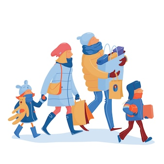 Happy family going home from winter sale illustration