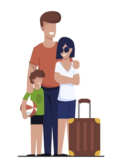 Happy family going on vacation search rent house