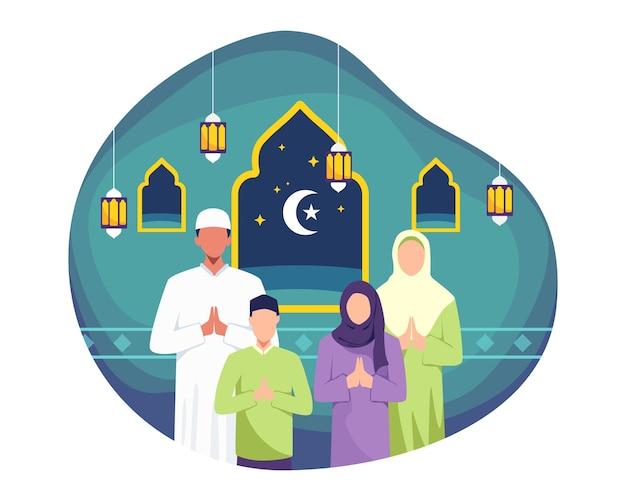 Счастливая семья приветствует и отмечает курбан-байрам. мусульмане желают и приветствуют ид аль фитр