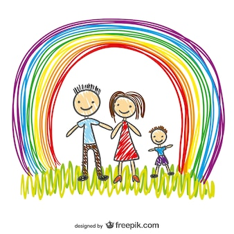 Happy family and hand painted rainbow