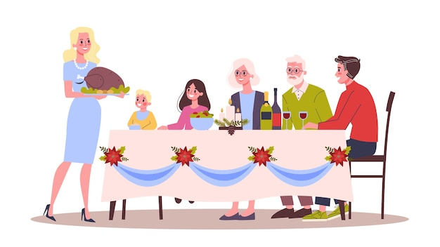 Happy family have fun on the christmas celebration. home party. new year celebrate.  illustration in cartoon style