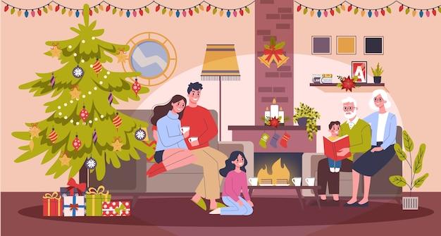 幸せな家族がクリスマスのお祝いを楽しんでいます。ホームパーティ。新年を祝います。リビングルームのインテリア。漫画のスタイルのイラスト