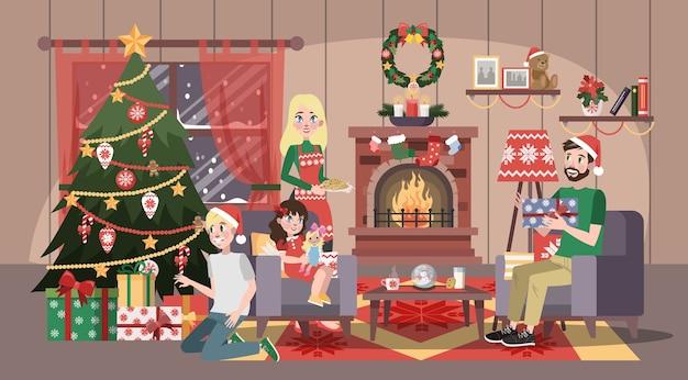 행복한 가족은 크리스마스 축하에 재미가 있습니다. 쿠키와 함께 홈 파티. 새해 축하합니다. 거실 인테리어. 만화 스타일의 벡터 일러스트 레이션