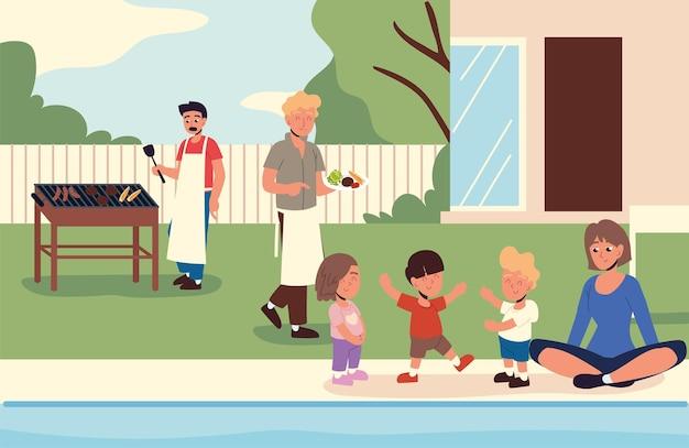바베큐를 하는 행복한 가족