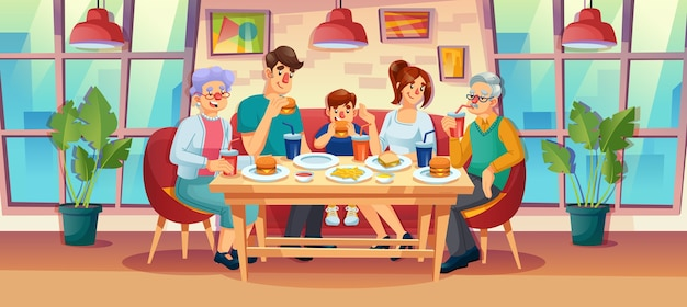 Happy family having dinner lunch together at fast food restaurant