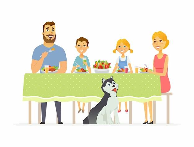 一緒に夕食を食べている幸せな家族-白い背景で隔離の現代漫画の人々のキャラクターのイラスト。 2人の子供を持つ母親とテーブルに座って、サラダ、健康食品を食べる夫