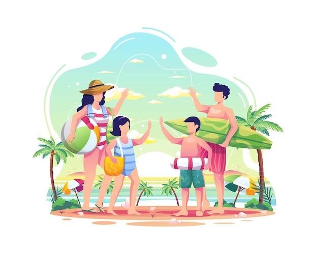 여름 일러스트레이션 동안 해변에서 즐거운 시간을 보내는 행복한 가족