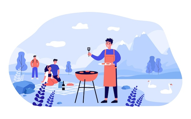 Happy family having picnic in mountains. man in apron grilling meat near lake with swans flat vector illustration. outdoor activity, holiday, picnic concept for banner, website design or landing page