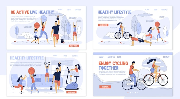 Happy family. healthy lifestyle. daily sport activity enjoyment. parent children training at home, in park, cycling outdoor together. different workout for woman, man, kid body care. landing page set