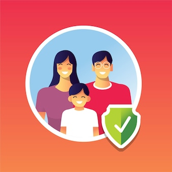 Happy family healthy protected from pandemic