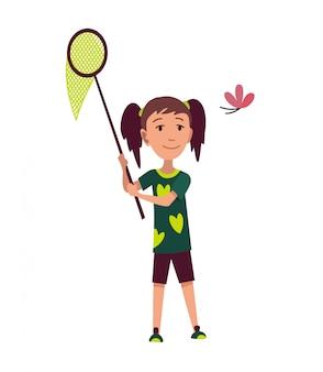 행복한 가족 하이킹. 모험 트레킹 야외 컨셉입니다. 그물 나비를 잡으려고 노력하는 어린 소녀. 레크리에이션 및 활동적인 모험 관광 일러스트