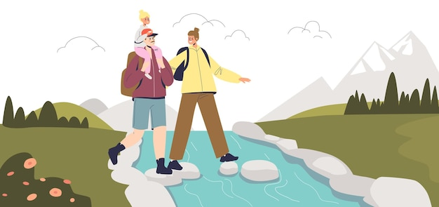 Happy family hiking. young parents with small kid on hike in mountains. mom, dad and child trekking, travel in nature. family of hikers on vacation. cartoon flat vector illustration