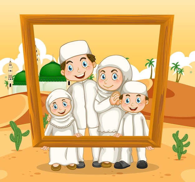 Happy family holding photo frame with mosque on the