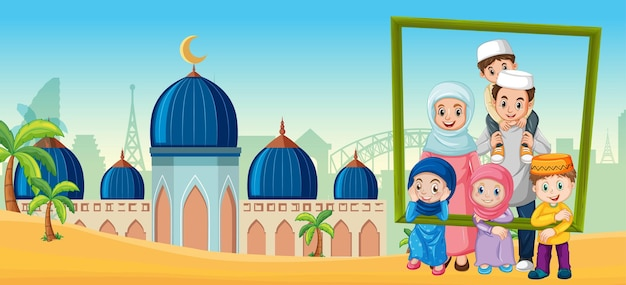 Happy family holding photo frame with mosque