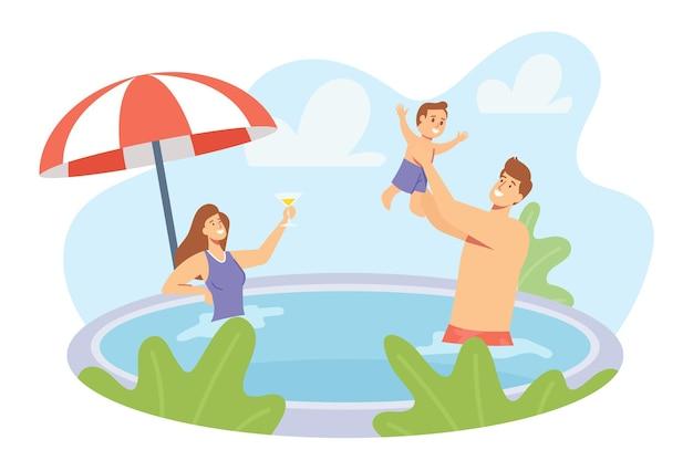 幸せな家族の休日。スイミングプールで遊ぶ若い親と小さな子供のキャラクター。父は息子とはねかける