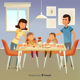 Happy family at home concept