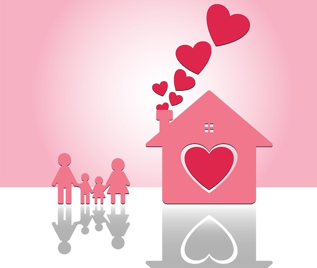 Happy family at home. mom and dad stand hand in hand with boy & girl. heart inside home on pink background