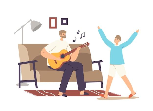 幸せな家族のホームパーティーのコンセプト。父はギターを弾き、歌を歌い、娘は踊ります。親子キャラクターの週末の暇、余暇、一緒に喜ぶ。漫画の人々のベクトル図