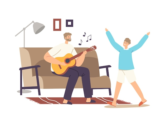 Happy family home party concept. father playing guitar and singing song, daughter dance. parent and child characters weekend sparetime, leisure, rejoice together. cartoon people vector illustration