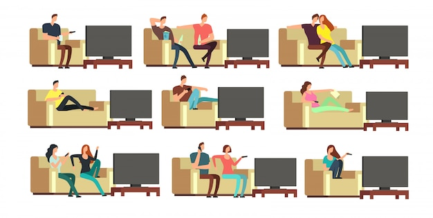 Happy family at home watching tv. young couple resting on comfortable couch vector set