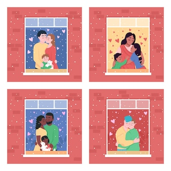 Happy family in home window flat color illustration set illustration isolated