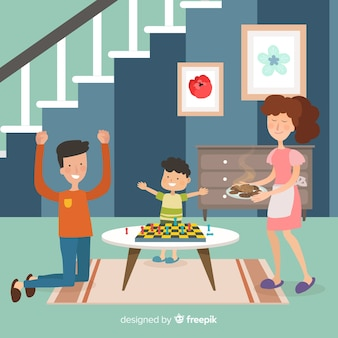 Happy family at home with flat design