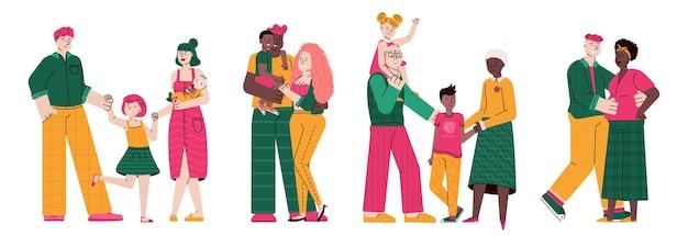 Happy family hugging together flat cartoon illustration