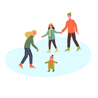Happy family on the ice rink. winter skating, outdoor activity. people with chidren.   illustration