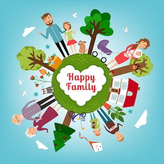 地球全体で幸せな家族。子供と親、子供と愛、母と父。ベクトルイラスト