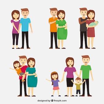 평면 디자인으로 다른 삶의 단계에서 행복한 가족