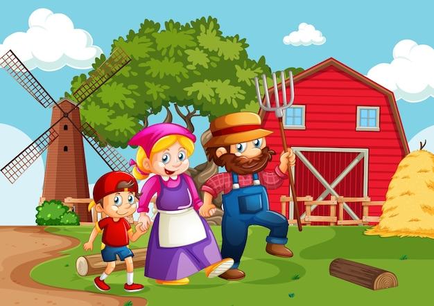 만화 스타일의 농장 현장에서 행복한 가족
