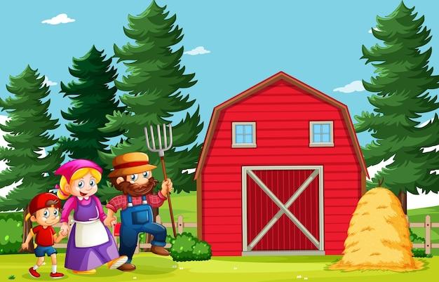 漫画スタイルの農場シーンで幸せな家族