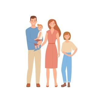 Счастливая семья в плоский - мать, отец, сын, дочь.