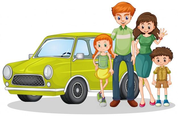 Счастливая семья перед машиной