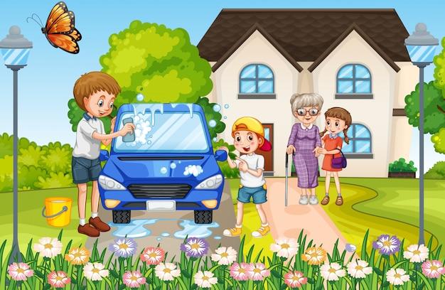 집 앞에서 행복한 가족