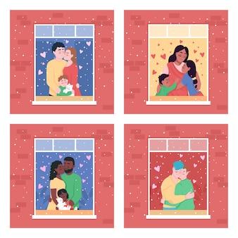 Счастливая семья в домашнем окне плоские цветные иллюстрации набор изолированных иллюстрация