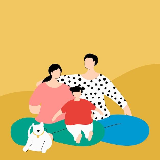 코로나바이러스 전염병 벡터 동안 격리된 행복한 가족
