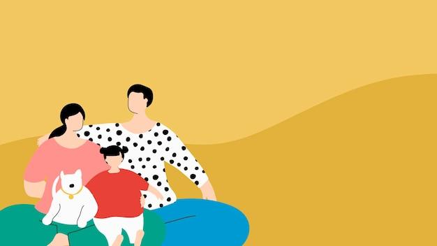 コロナウイルスのパンデミックの間に孤立して幸せな家族 無料ベクター