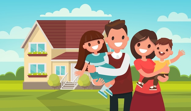 彼の家の背景に幸せな家族。父、母、息子、娘が一緒に屋外で。