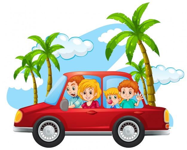 車の中で幸せな家族