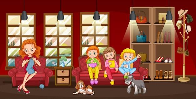 リビングルームのシーンのイラストで幸せな家族