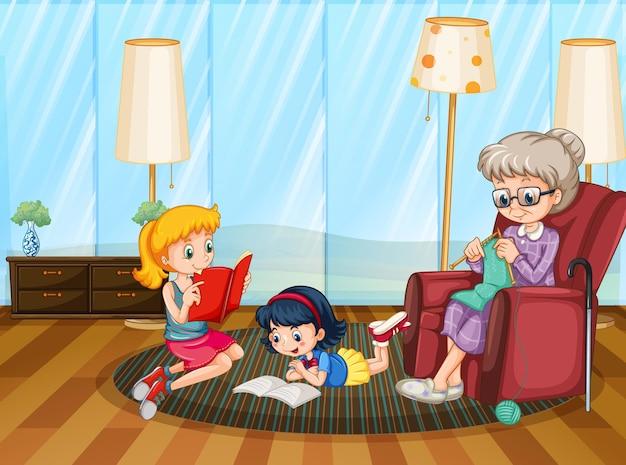 リビングルームシーンで幸せな家族